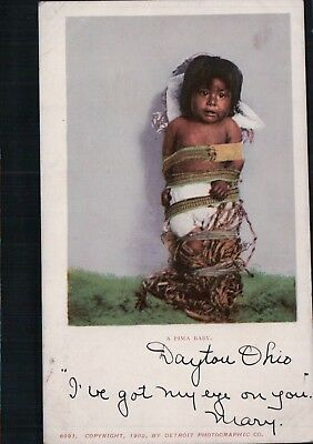 1902 Detroit UDB A Pima Baby Vintage Native American Indian Postcard