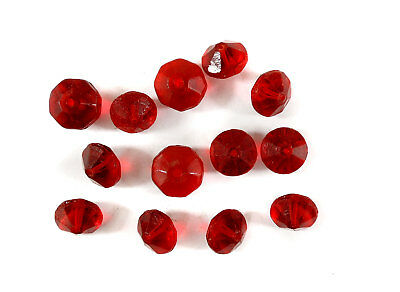 13 Vaseline Trade Beads Red Bohemian Faceted Africa Loose
