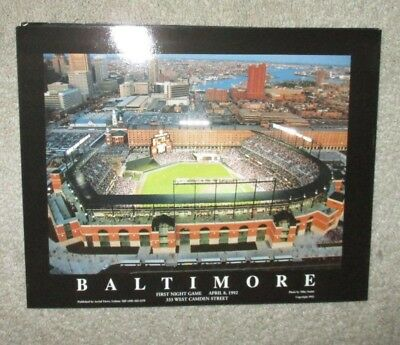 Baltimore Orioles Stadium Poster 1st Game Aerial View Mike Smith 1992