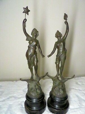 Antique Statuettes Art Deco Pair Figures Marked - ASCO Made In England