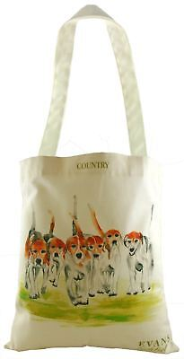 Evans Lichfield 100% Cotton Tote Cloth Shopping Bag Hounds Dogs Red Beige Green