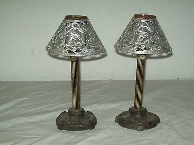 pair of vintage spelter base column  miniature oil lamps with metal shades