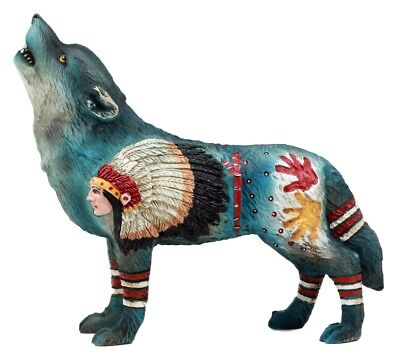Egift Chief Native Tribal Howling Wolf Totem Spirit Figurine Collection Fantasy