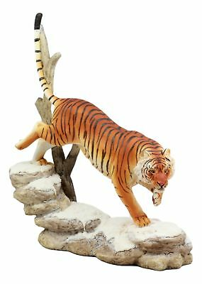 Wildlife Prowling Orange Bengal Tiger Figurine Snowcapped Rocky Hill Predator