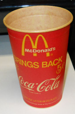 Vintage 1970`s McDonald`s/Coca-Cola Wax Cup,Unused