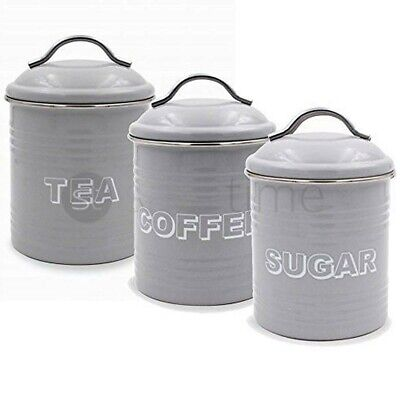 Metal Tea Coffee Sugar Canisters Lesser & Pavey Sweet Home Grey, 11 x 11 x 19 cm