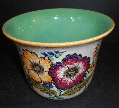 Royal Gouda Art Pottery Pot / Vase Beautiful Flowers Made in Holland Signed