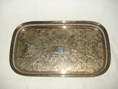 Vintage White metal serving / drinks tray patterned