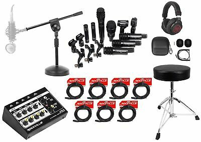 Audio Technica Pro Drum Microphone Kit w/ (7) Mics+Stand+Throne+8-Channel Mixer