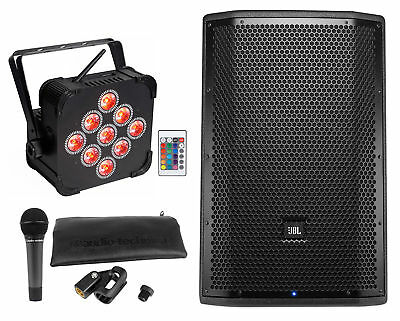 "JBL PRX812W 12"" 1500w Active PA DJ Speaker+Wireless Par Light+Audio Technica Mic"