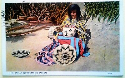 "1932  Posted  Postcard Arizona""Indian Squaw Making Baskets""-Beautiful"