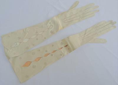 Antique Edwardian Leather Opera Gloves - Ladies Cream Embroidered Elbow Length