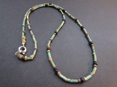 NILE  Ancient Egyptian Glass Amulet Mummy Bead Neclace ca 600 BC