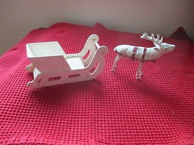 Vintage Christmas Cardboard Sleigh And Paper Mache Composition Reindeer