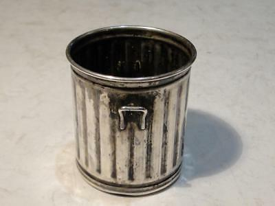 Vintage Sterling Silver  Trash Can Tooth Pick Holder