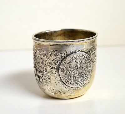 Antique German Baroque Hand Chased Silver Shot Cup Hanau 18C or 19C Historism