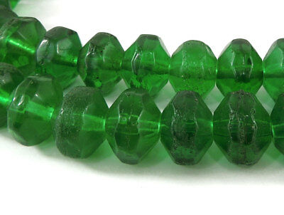 Vaseline Trade Beads Green Bohemian Faceted Africa