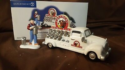Dept 56 Snow Village Accessory 2002 FRESH DAIRY DELIVERY Set of 2 55195 Retired