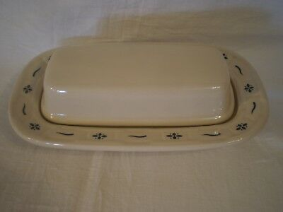 Longaberger Pottery Blue Woven Traditions 1/4 Lb Stick Butter Covered Dish