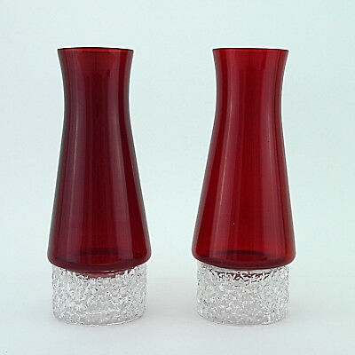 Two Vintage Whitefriars Ruby Red/Clear Textured Candleholders (1960s/70s) - 26cm