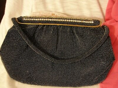 Vintage Hand Made In France Silvery Gray Seed Glass Rhinestone Purse Pocketbook