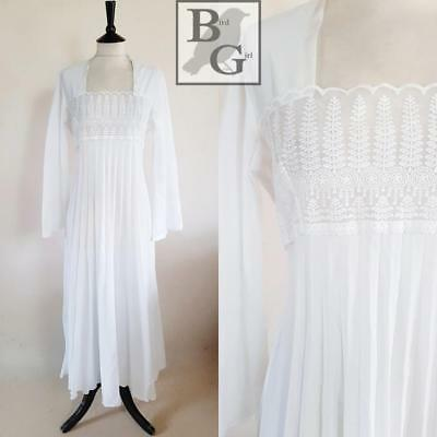 Bell Sleeve 1970S Vintage White Divine Lace Panel Pleated Night Dress 12-14 M