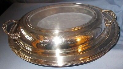 Sheffield Oblong Silver Serving Dish with Glass Insert