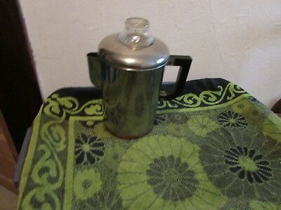 Very Good Vintage Revere Ware Copper Clad Coffee Maker. Camping, Stove Top