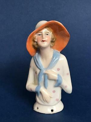 Antique Fasold & Stauch Pin Cushion Half Doll Lady In Large Hat