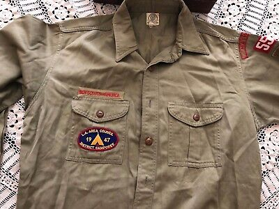 1940's BOY SCOUTS OF AMERICA LONG SLEEVE SHIRT MAYWOOD CALIFORNIA