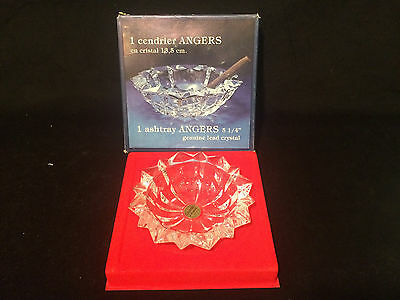 "Vintage Cristal d' Arques Lead Crystal Ashtray 5 ¼"" NIB"