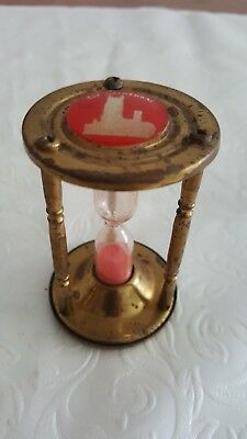 vintage small brass egg timer with picture of Ely Cathedral size 7cm high