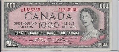 $1,000 Canada 1000 1954 Bank Of Canada Note Currency Circulated