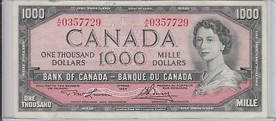 $1,000 Canada 1954 Bank Of Canada 1000 Note Currency Circulated Solid Eye Appeal
