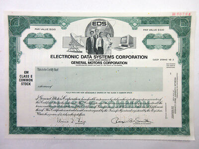 TX. Electronic Data Systems Corp., 1984 100 Shrs Specimen Stock Certificate, XF