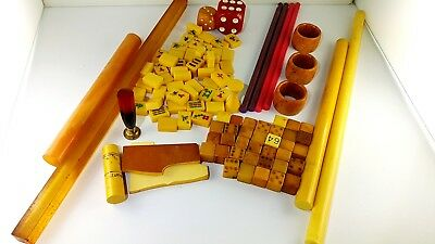 Antique  Old Amber Bakelite Catalin Gebetskette Block Rods Ddr würfel 1942 Gr