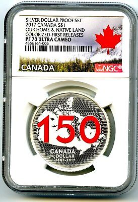 2017 Canada $1 Silver Dollar Ngc Pf70 Ucam Red 150Th Anniversary First Releases
