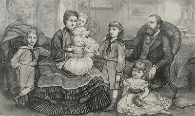 1870 Large Antique Print - Royal Family - Prince & Princess of Wales & Children