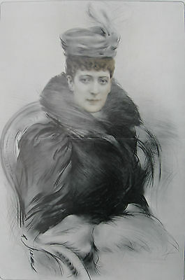 """1908 Large Antique Portrait- Queen Alexandra of England - """"The Queen of Charity"""""""