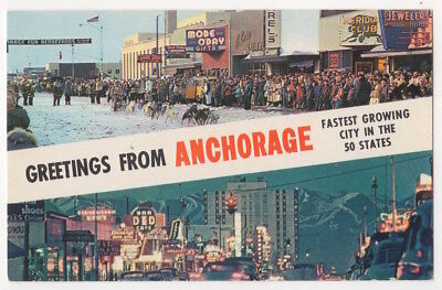 Anchorage Alaska c1960 Dog Sled on Fourth Avenue, Night View Business District