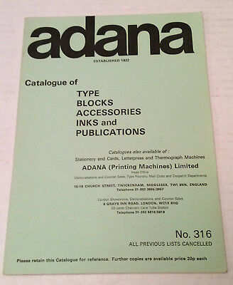 Adana Catalogue of Type Blocks, Accessories, Ink & Publications booklet