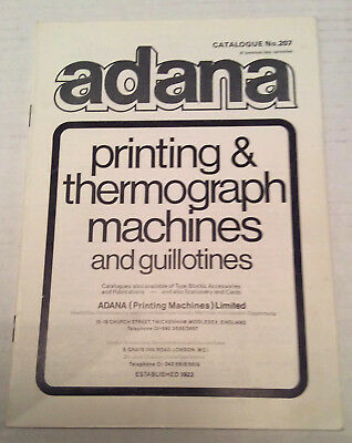 Adana Printing and Thermograph Machines and Guillotines booklet