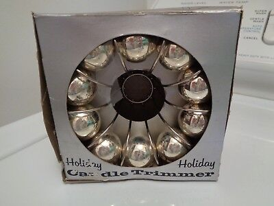 MCM Christmas Holiday Candle Trimmer, Silver Balls, In Box, Vintage 1960s
