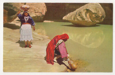 Water Hole, New Mexico c1950's Acoma Pueblo Women, vintage postcard