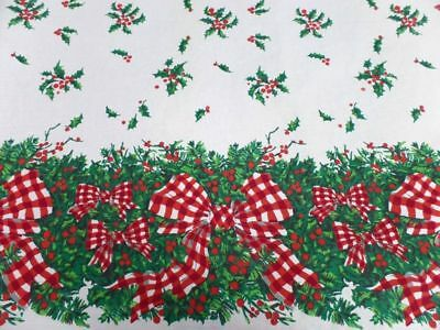 Large Print Christmas Gingham Ribbon Holly Tablecloth Excellent Red 52 x 104