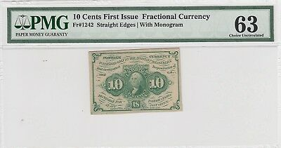 10 Cents First Issue Fractional Currency Fr#1242 Straight Edges w/ Mono PMG 63