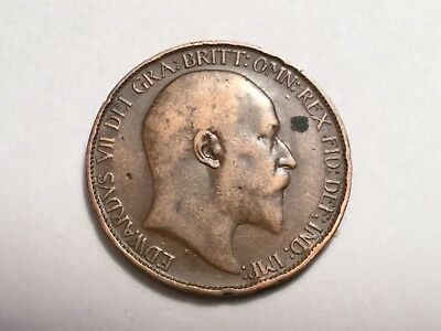GREAT BRITAIN 1909 1/2 penny coin circulated, obverse spot