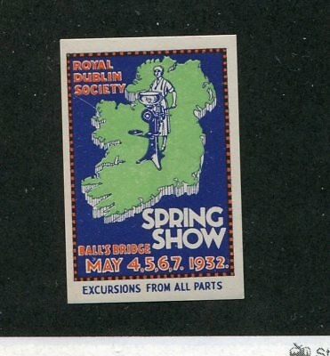 Vintage Poster Stamp Label ROYAL DUBLIN SOCIETY SPRING SHOW 1932 Ireland
