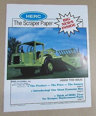 Old 1990's Herc Motor Scraper Self Propelled Earth Mover Color Brochure FREE S/H