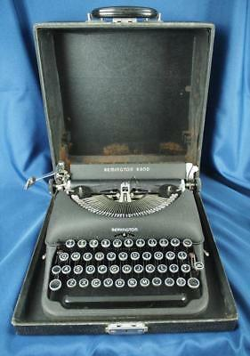 Vintage Flat Black REMINGTON RAND Typewriter in Case